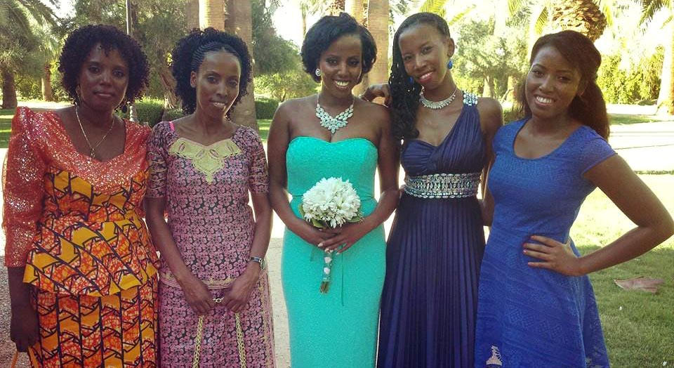 Mamy Najurama, second from left, one of the women saved in the Congo rescue mission, with her sisters at their nephew' David's wedding. David lost both his parents and his younger sister in the death camp where Najurama was imprisoned for 16 months. (Courtesy)