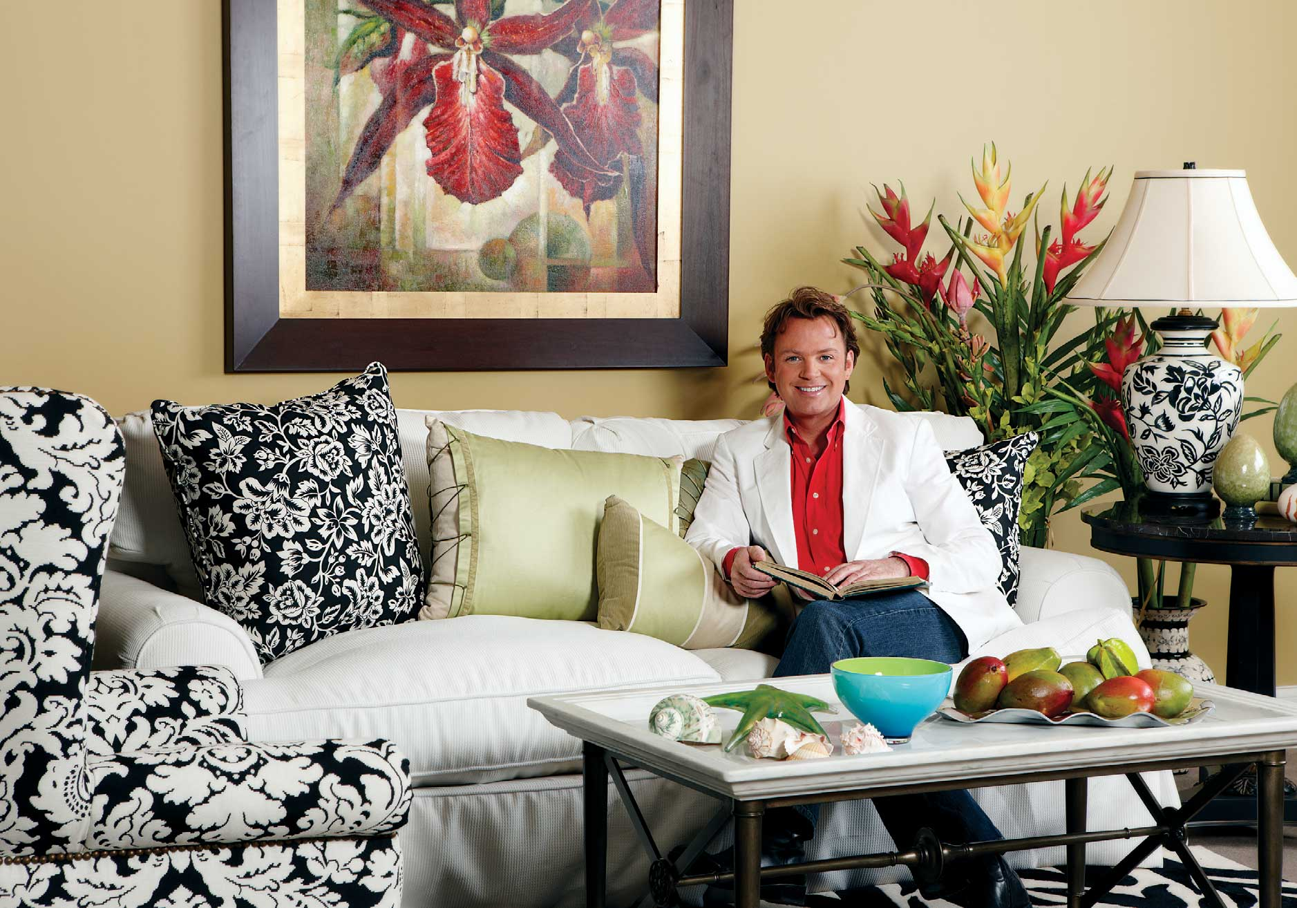 """Randy creates a summer room at Selden's Home Furnishings (1801 62nd Ave. E., Fife,253-922-0366; seldens.com).All products available at Selden's except as noted:""""Orchids"""" painting (Prestige Art); sofa and chair (Southern Furniture); pillows (Thomasville Furniture and Eastern Accents); tables (Drexel Heritage); lamp (Sedgefield);vase (John Richards); retro zebra rug (Medallion Imports);blue bowl from Macy's (macys.com); green glass starfish from Avalon Glassworks (avalonglassworks.com).  Maximum Living Paint premieres this month,available exclusively through Selden's and Authentic Home (authentichome.com)."""