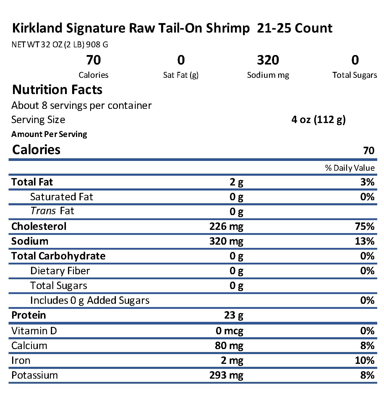 Costco Shrimp Nutrition Information