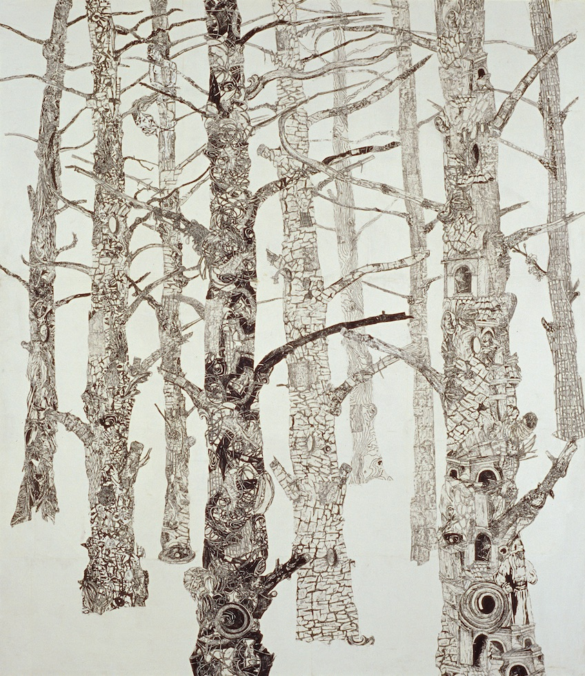 "Forest  woodblock prints on kozo paper on wood panel  87"" x 76""  1996"