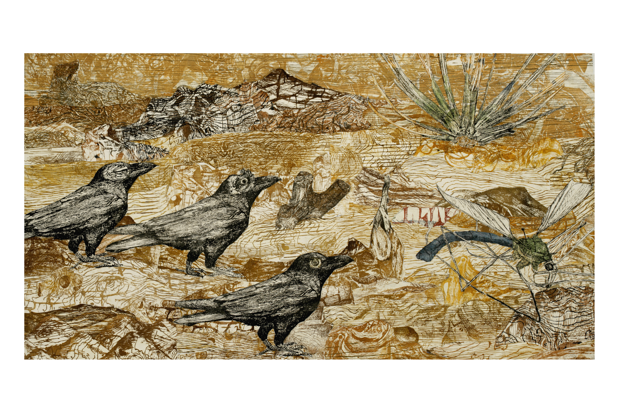"Three Ravens  woodblock prints on kozo paper on wood panel  24"" x 44""  2006"