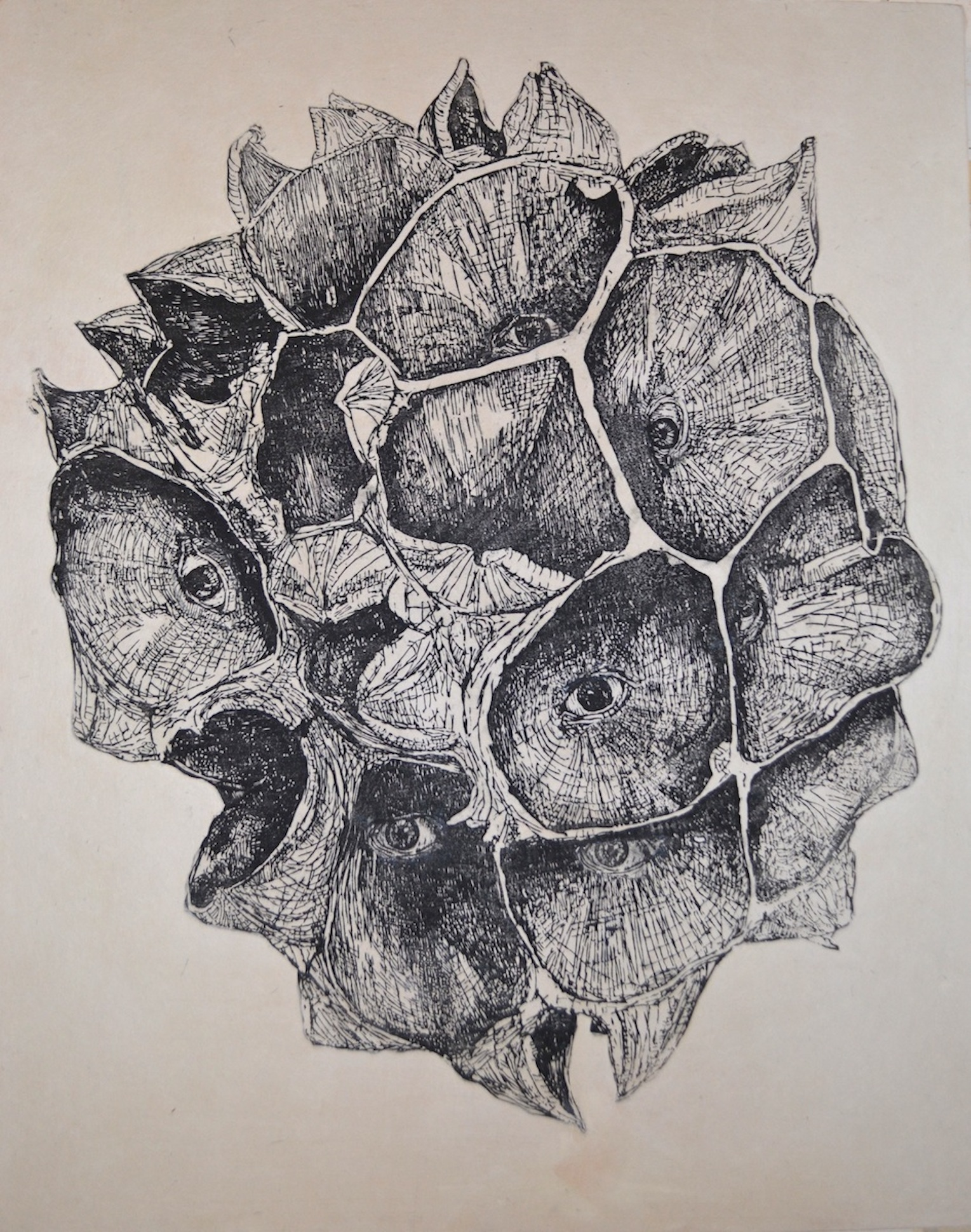"Self-Portrait as a Seed Pod  woodblock prints on kozo paper on wood panel  22"" x 18""  2015"