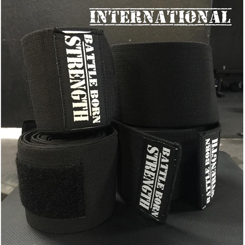 "The INTERNATIONAL. This is for the big lifters. Maybe too strong for some. All time record? This is the real set to have 36"" wrist wraps and 2.5 meter knee wraps. We warned you, we weren't playing around. Smash records and protect them with INTERNATIONAL.   Price includes shipping within the US."