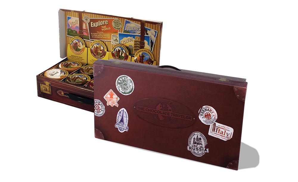 The Chocolate Traveler | Suitcase Display