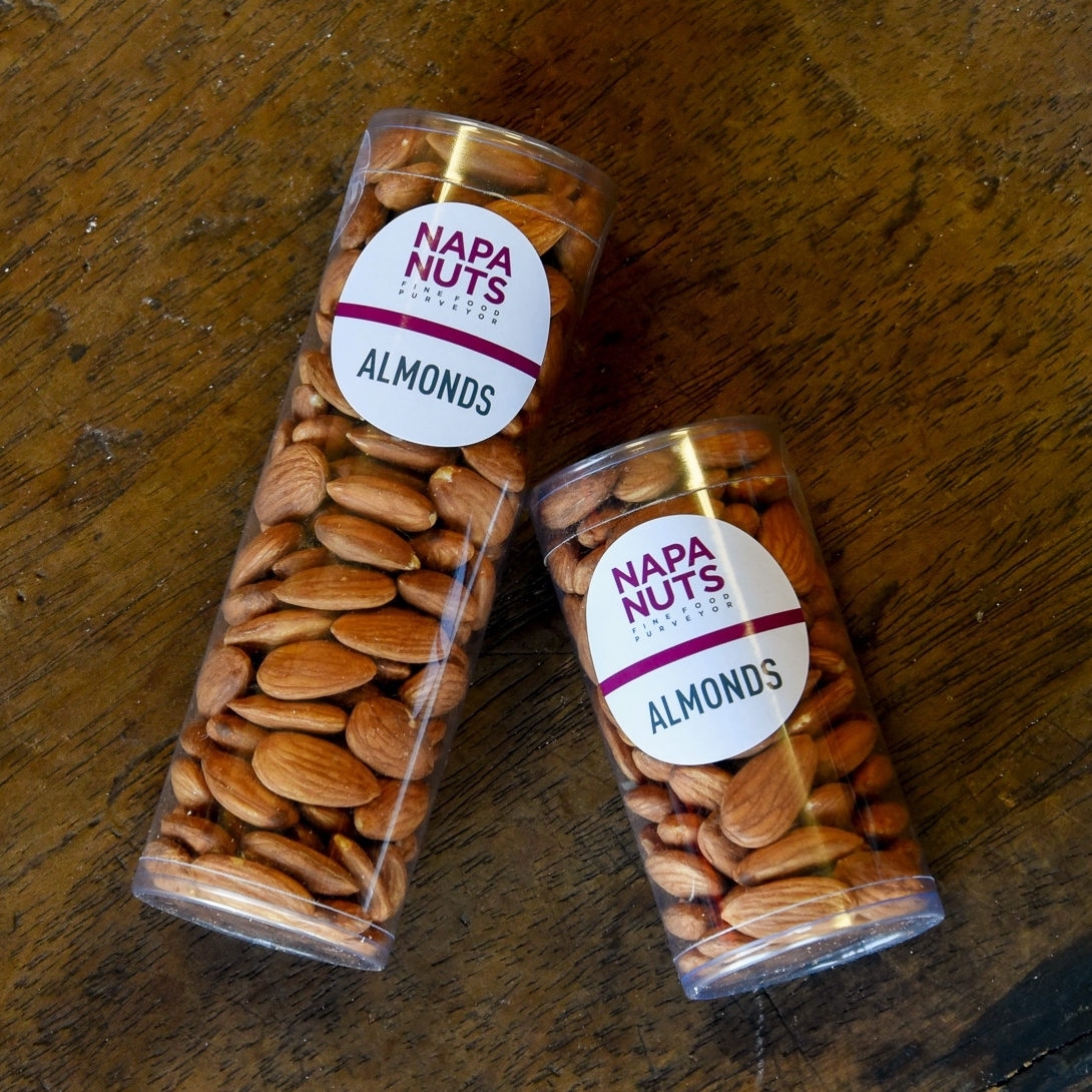 Included in the photograph are a small tube containing 4 oz. of Raw Almonds and a large tube of 7 oz. of Raw Almonds.  Most of our products are available in our tubes. Please call (707) 226-6083 to order, these are packed on demand.