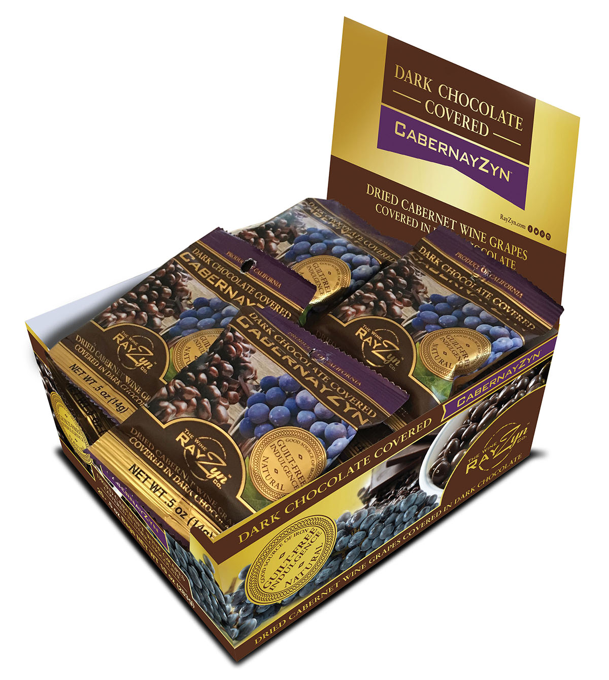 Dark ChocolateRayZyns® in.5 oz. Bags - Comes in display box of 20 units.