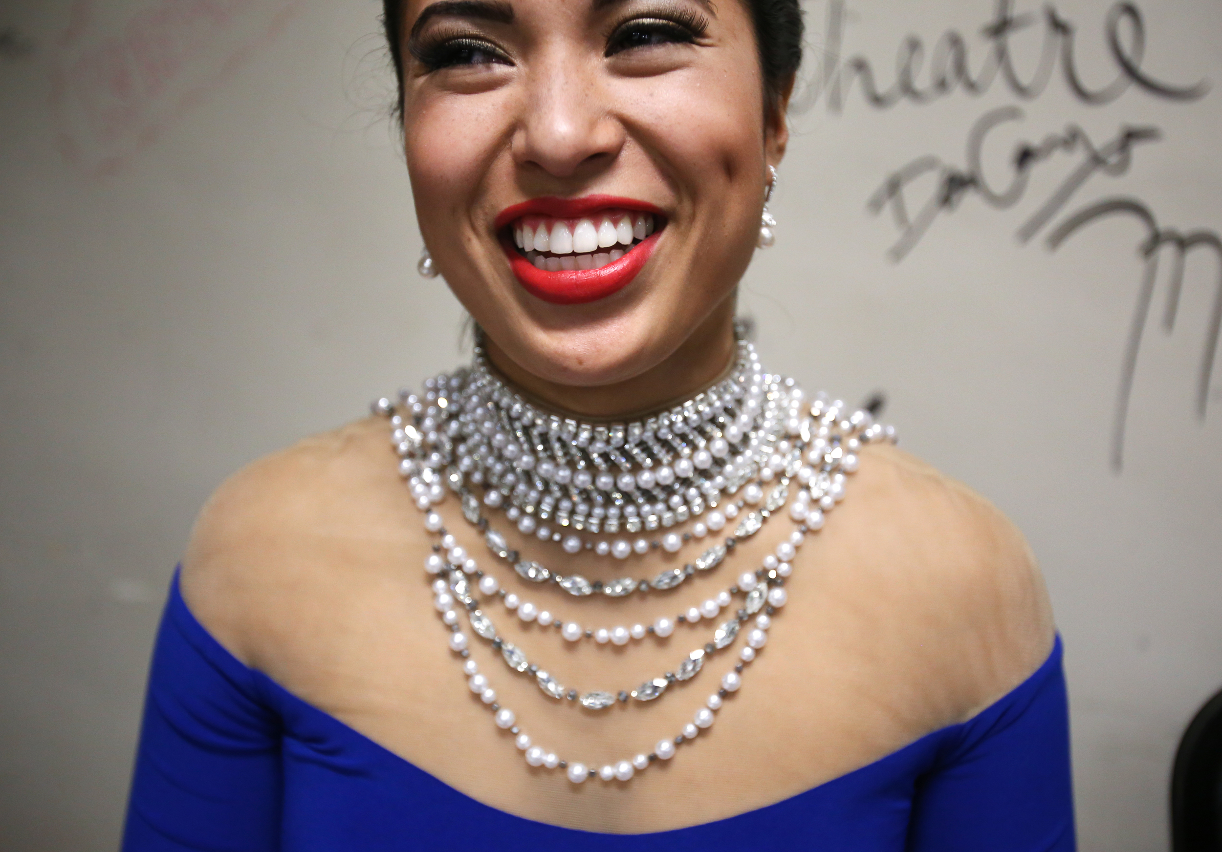 Miss Saginaw County Danielle Purtell smiles backstage as she chats with other contestants during the second night of the 2015 Miss Michigan Scholarship Pageant at the Frauenthal Center for the Performing Arts in Muskegon, Mich. on Friday, June 19, 2015.