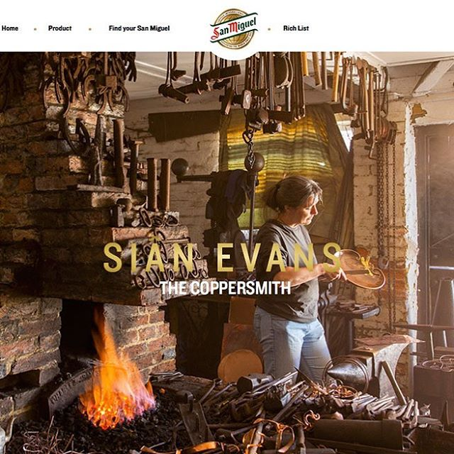 Was such a pleasure to shoot coppersmith Sian Evans for an @evening.standard campaign featuring dedicated men and women devoted to finding a new kind of wealth #sanmiguelrichlist @sanmiguel_uk
