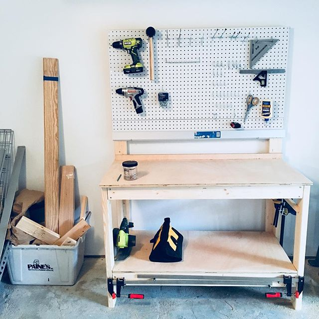 Design school may have ended, but the making has not.. #settingupshop #workbench #dgarage