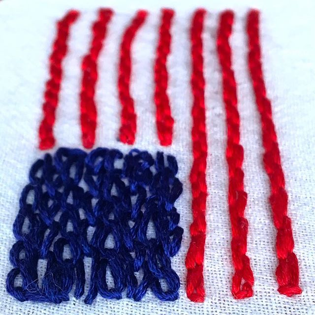 A little #patriotic #embroidoodle in honor of the #olympics! #madeinmadison #america  #usa #goteamusa #🇺🇸 #embroidery #doodle #monthofmaking
