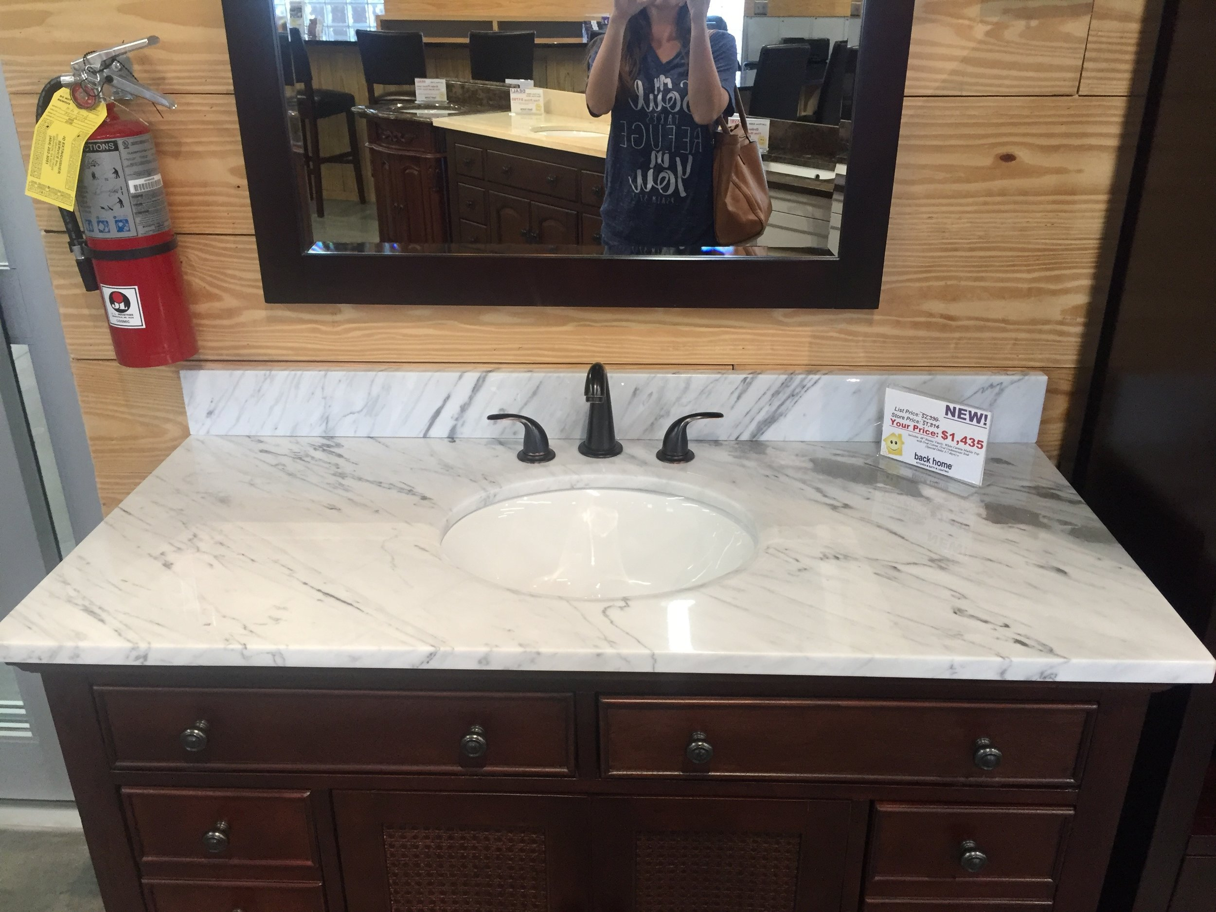 We got incredibly lucky and found the perfect counter top and sink exactly the size we needed. Plus it was discounted for being a display which just totally sealed the deal.