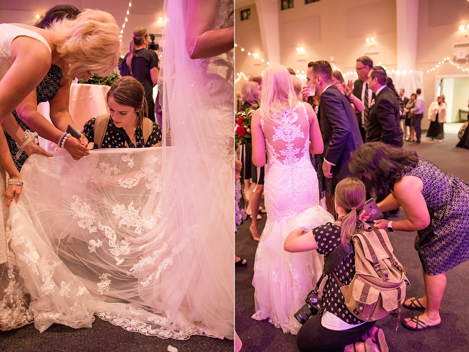 As a wedding photographer, it's also very helpful to know how to bustle a dress. I'm still trying my best to improve on this talent but I lend a hand when I can!