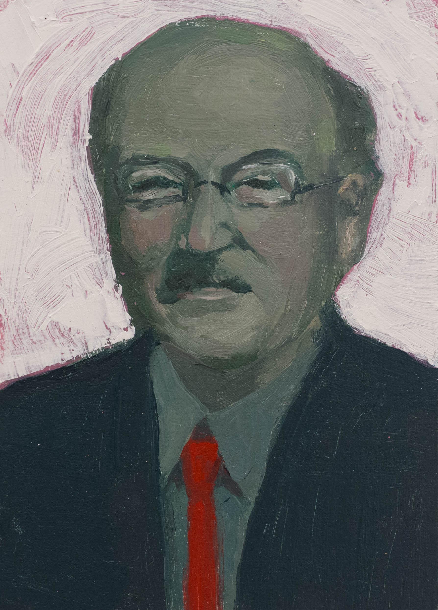 Portrait of Volker Schlondorff  5 x 7 in  oil, mix media on panel