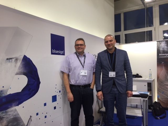 Philip Schaer, Head Customer Relation Europe, Bluesign, and Alex Ingildsen, CCO at LTP Group, at bluesign stand in Performance days - Nov2016