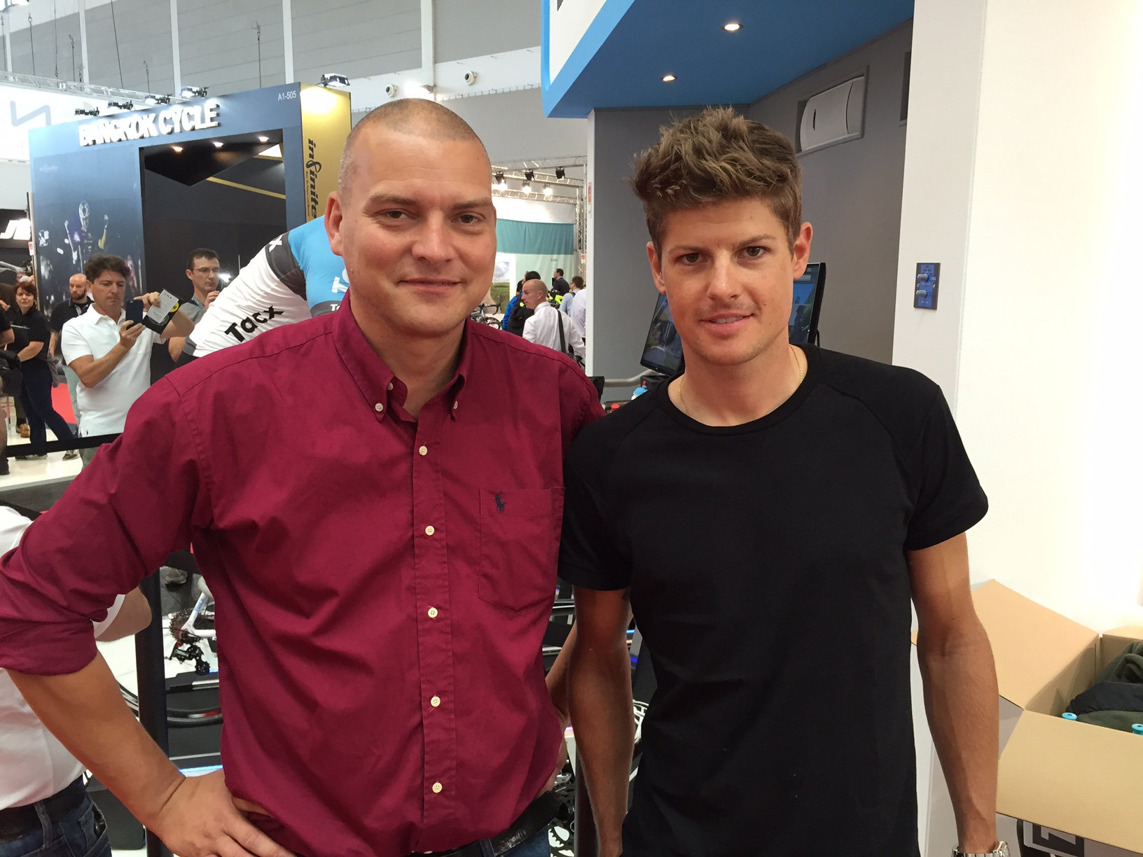 Alex Ingildsen, CCO LTP Group and Jacob Fuglsang, Danish 2016 Olympic road race silver medalist discuss bike apparel trends at the Euro bike fair