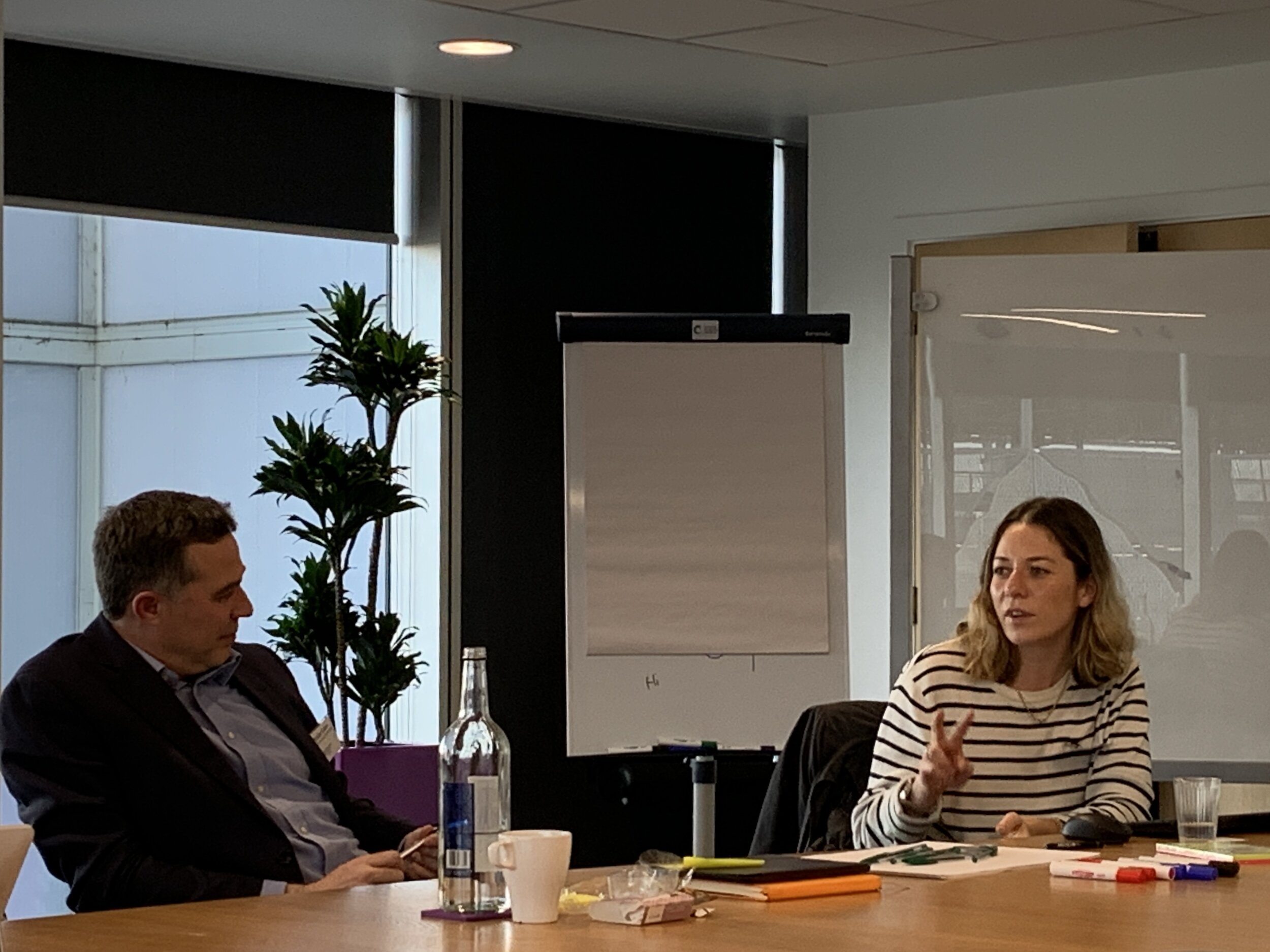 Members debate at the Sport & Outdoor Apparel Network in London, here Head of Product Development Miriam Roles Lock at Rapha & Michael Caine Professor of Sport Technology and Innovation at Loughborough University.