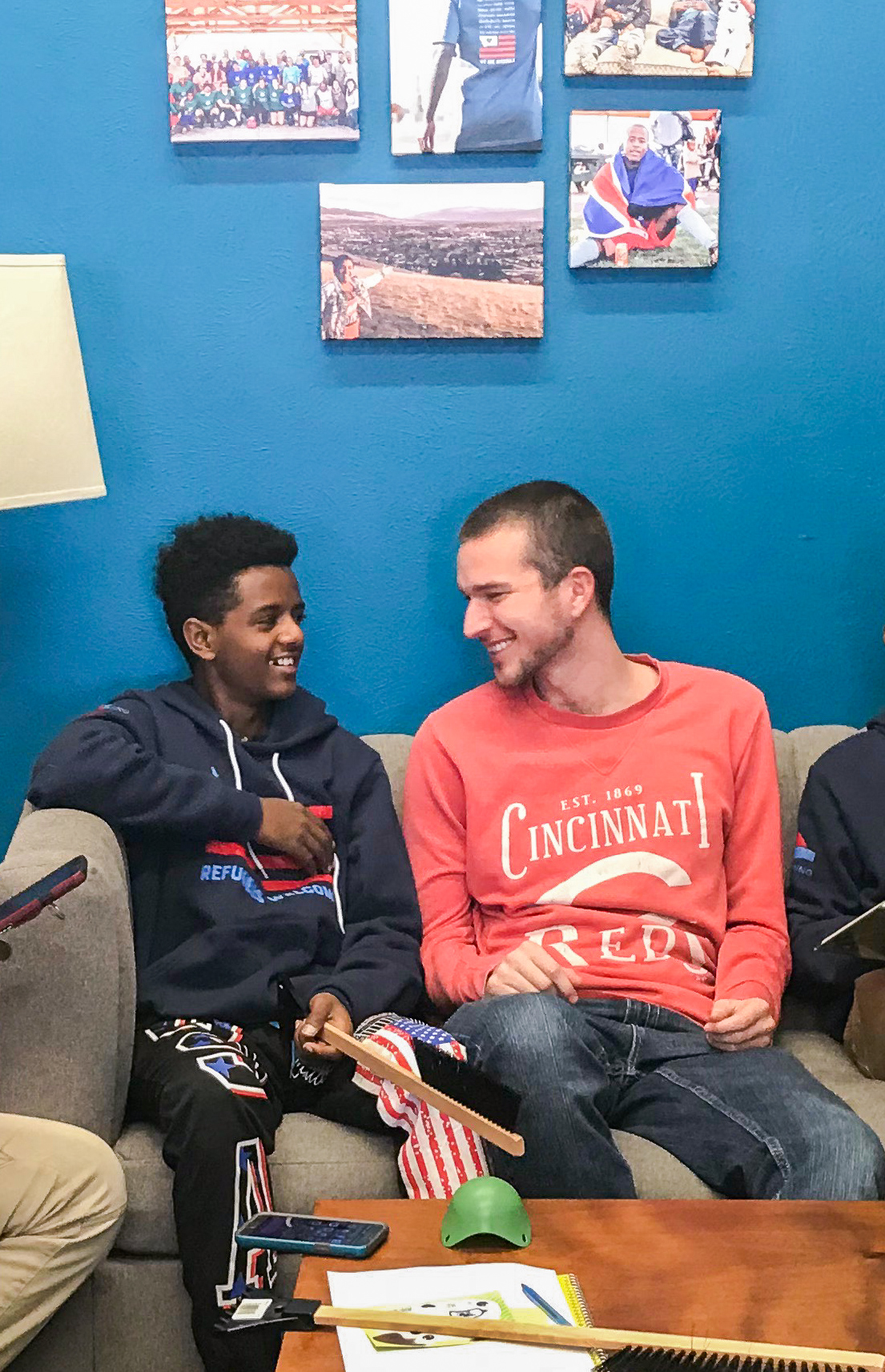 Chase hanging out with a refugee teen during after school tutoring