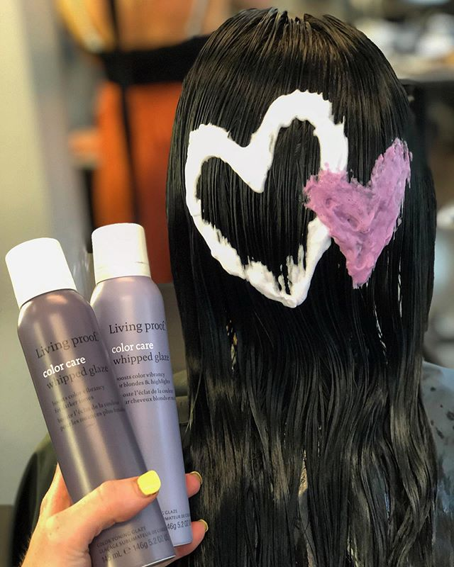 We 💜 @livingproofinc whipped glaze! Did you know it's great to refresh both blondes/highlights and darker shades? . . .  #LPSalonBingo #livingproof #OutsmartYourColor #yourbesthair #sulfatefree #siliconefree #parabenfree #crueltyfree #nontoxic