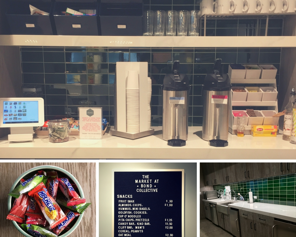 Fig 2A: (top) coffee and tea in the corner; Fig 2B: (bottom left) Hi-Chew candies at the front desk; Fig 2C: letter board with snack pricing; Fig 2D: (bottom right) kitchen and sink space.
