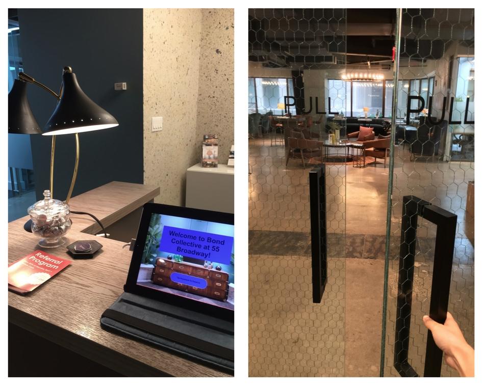 Fig 6A: (left) front desk; fig 6B (right) entrance to Bond 55