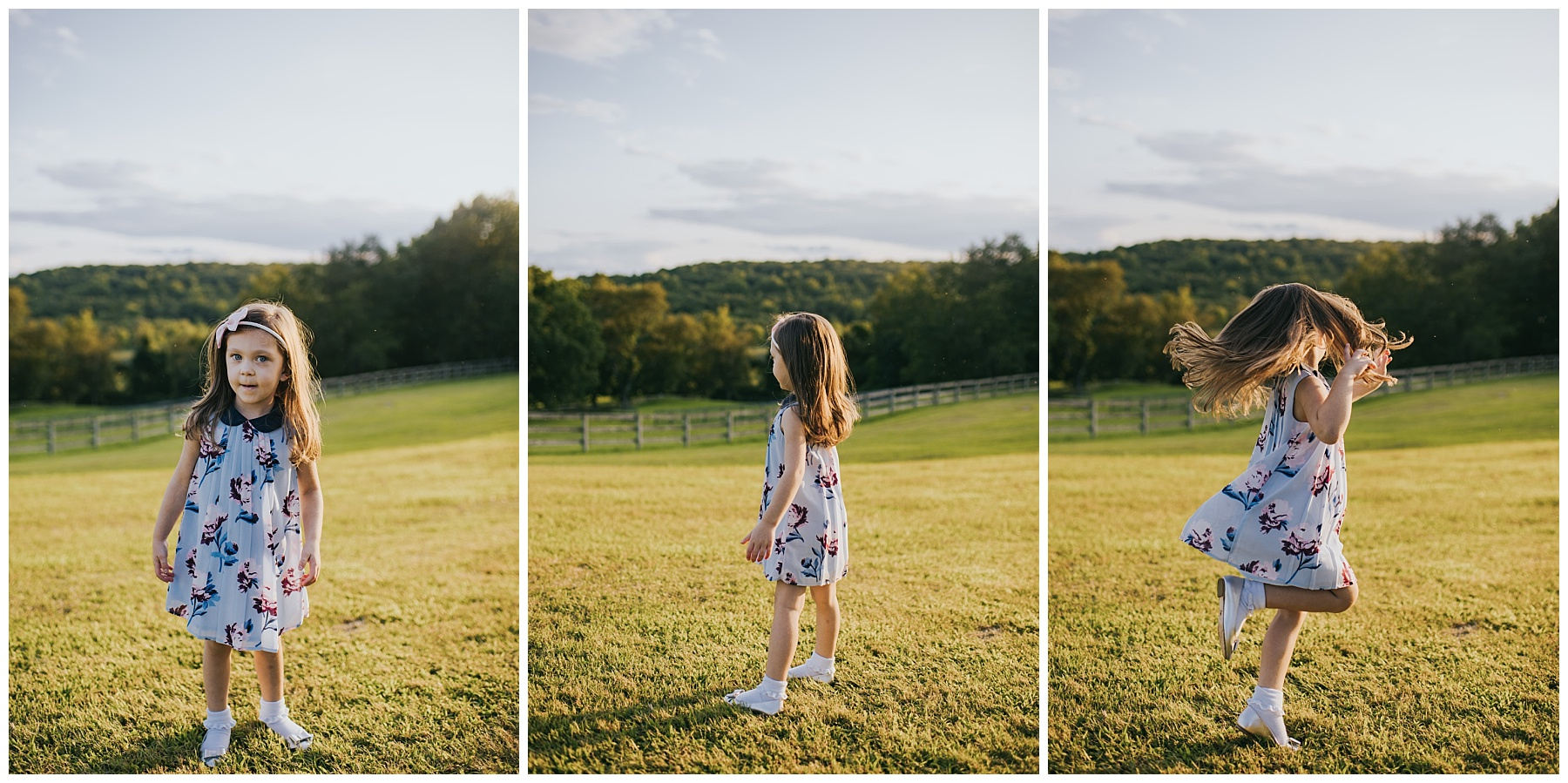 Little girl dancing at a Farm in Fairfield County, Ct Kendra Conroy Photography
