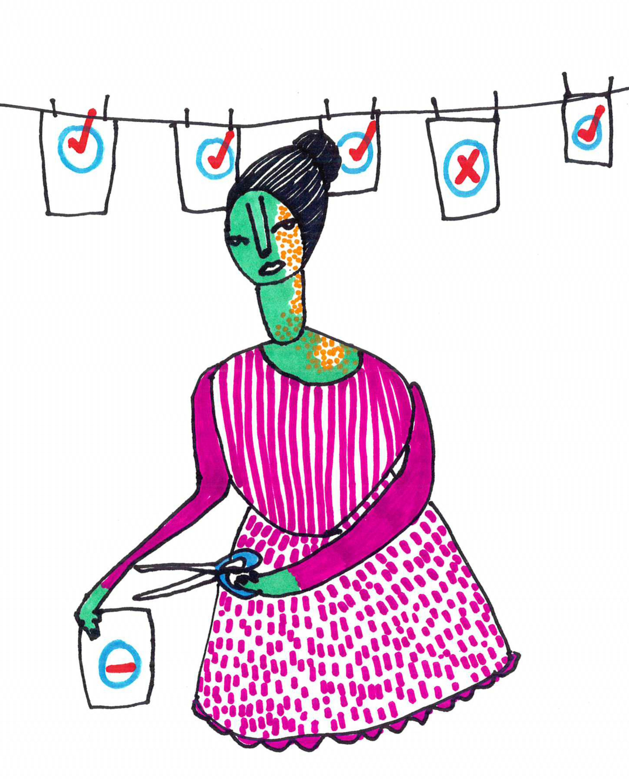 Clothesline and woman with scissors.jpg