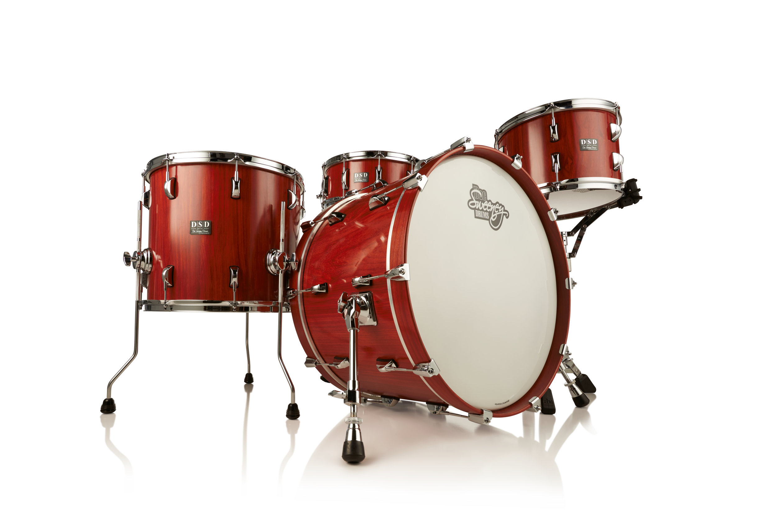 DSD Stave Drums Series - DSD Stave Drums Series is offered in Tiger Maple and Padauk, domestic and exotic species with incredible tonal qualities. Kits come in two configurations (optional 14x6 matching snares are available):Model 1 (20x14, 14x13, 12x8)Model 2 (22x14, 16x14, 13x9)