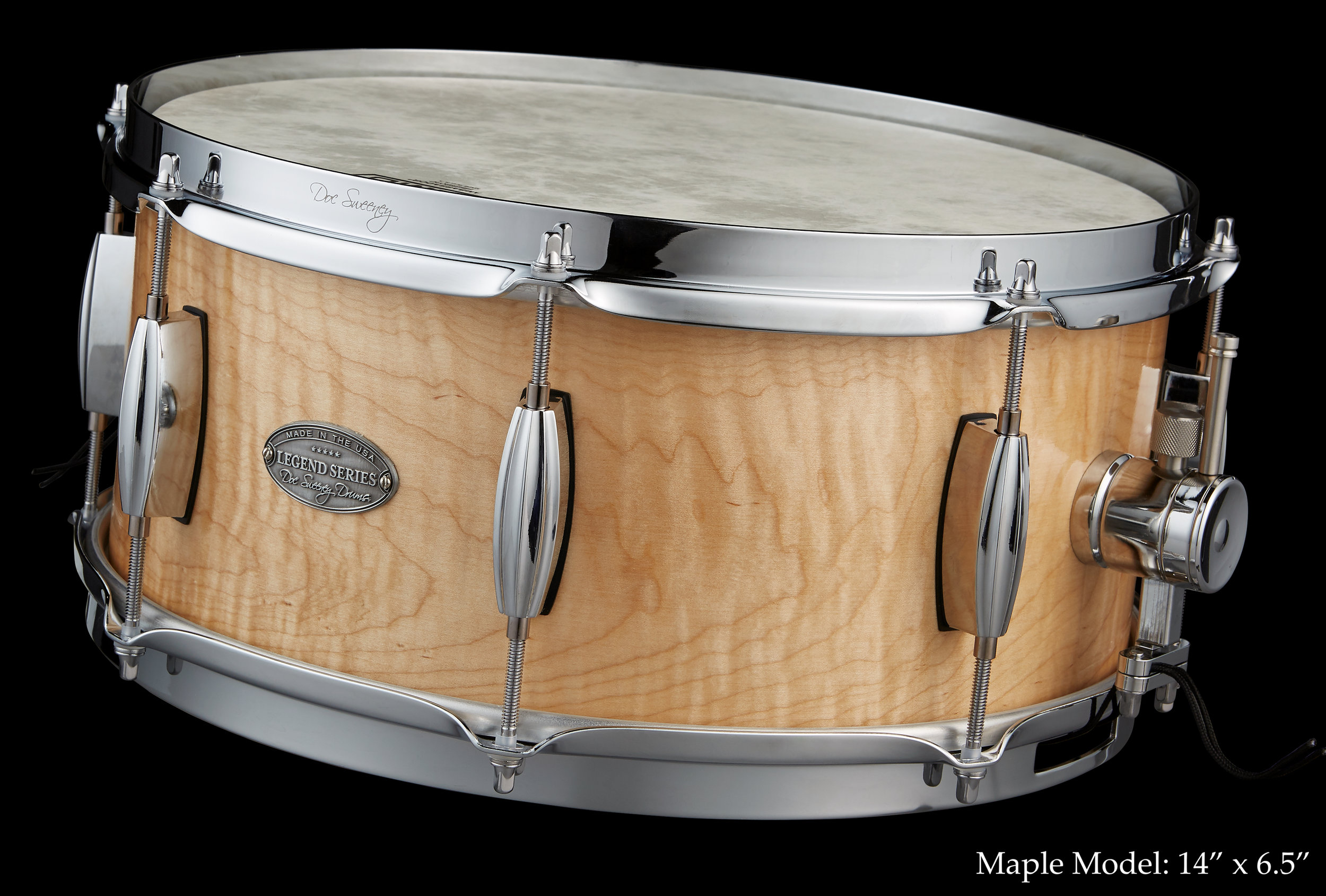 Legend Series - We've long been admirers of the steam bent snares created in the 1920s — 1940s by legendary builders like Leedy and Slingerland. As a tribute to one of the most admired snare drums of the 20th century, Doc Sweeney Drums is proud to introduce a contemporary take on an American classic with our steam bent shell, eight lug snares we call the Legend Series.By blending our CNC milled solid wood shell and DS1 strainer with vintage style beavertail lugs and classic hoops, we're offering drummers a blast from the past with the benefits of new technology.