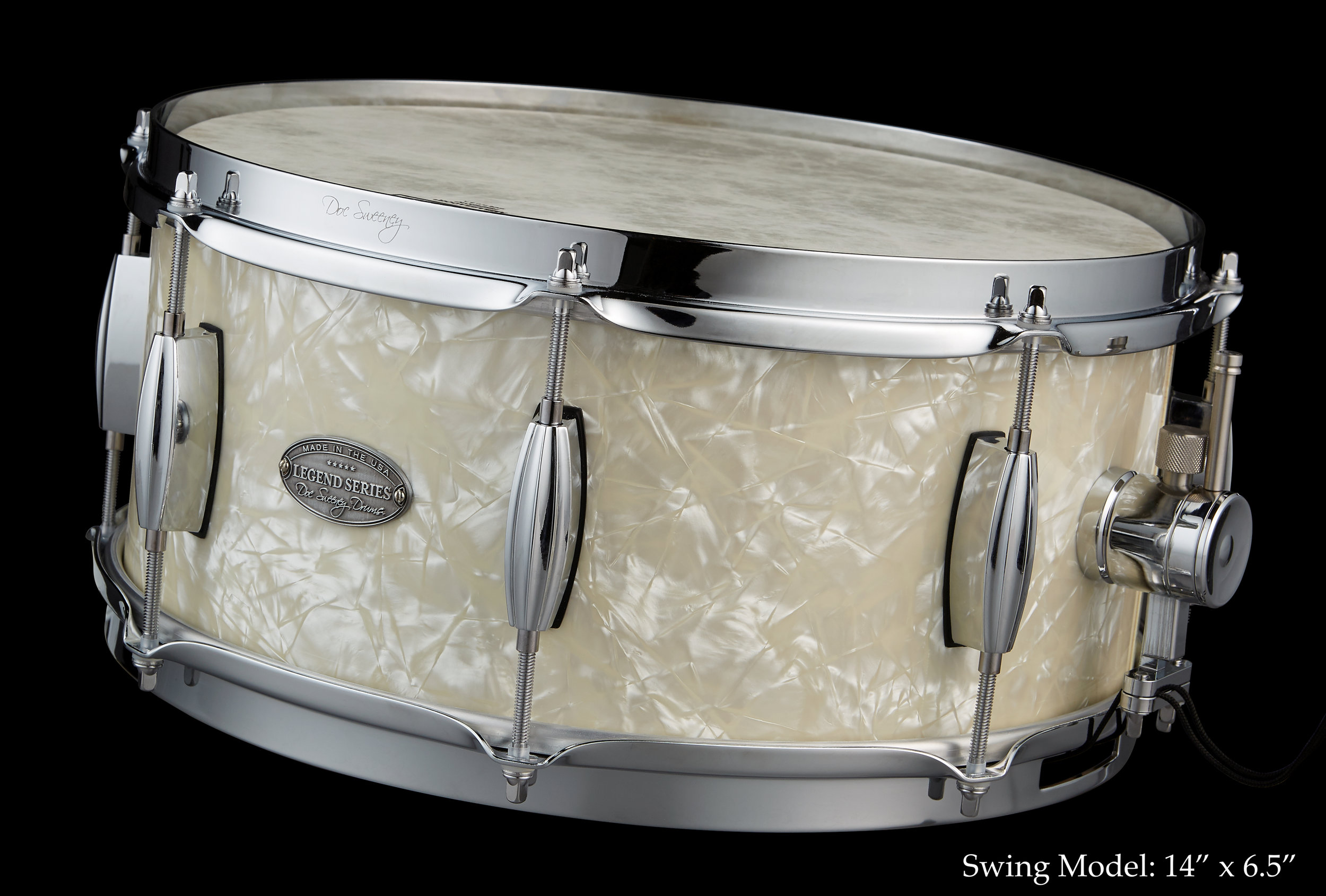 "Specs - Species: Maple, Myrtle, WalnutSizes:14x5.5, 14x6.5, and ""Super"" Legend 14x7.5Shell Thickness: 5/16"" with re-ringsBearing Edge: 30 degree round-overHardware:n Beavertail lugs, DS1 strainer, stick chopper or stick saver hoopsFinishes: Hand-rubbed oil, White Marine Pearl"