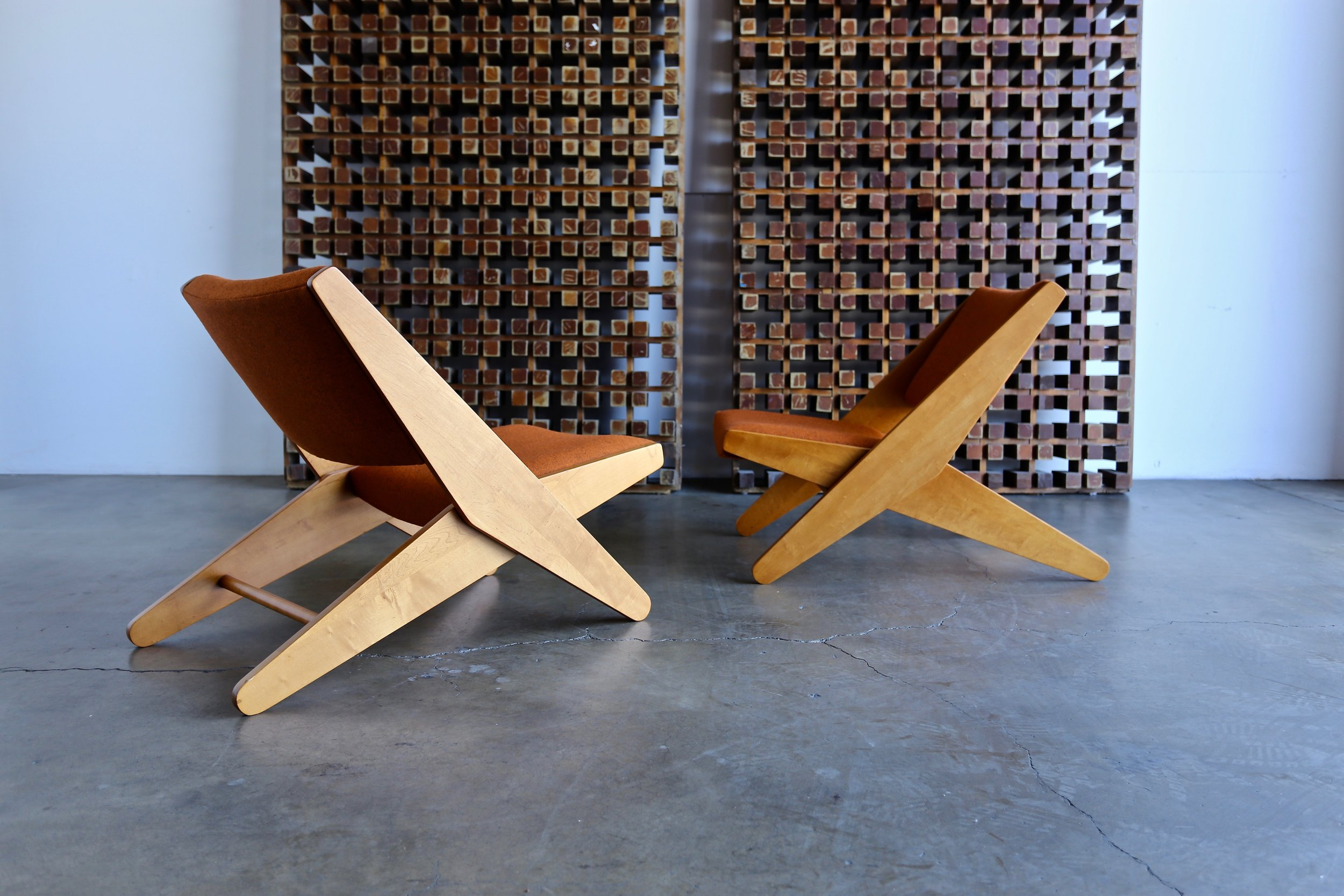Sold Pair Of Rare Ficks Folder Lounge Chairs By Ficks Reed Co