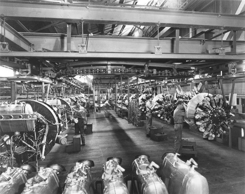 Vultee Valiant engine assembly Downey CA