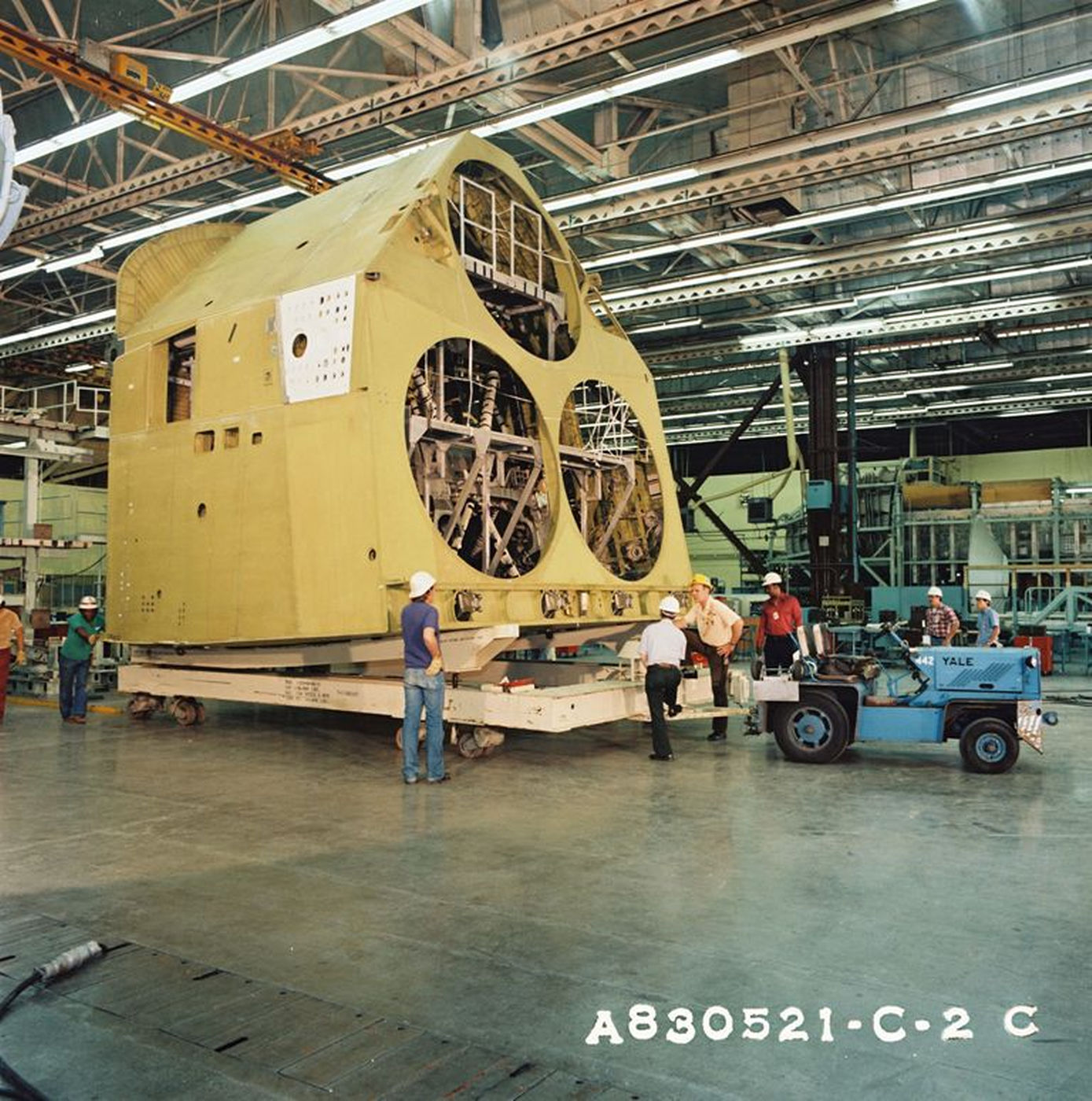 Engineers prepare Atlantis' aft fuselage for delivery to Rockwell's Palmdale facility from the Downey plant on May 21, 1983..jpg