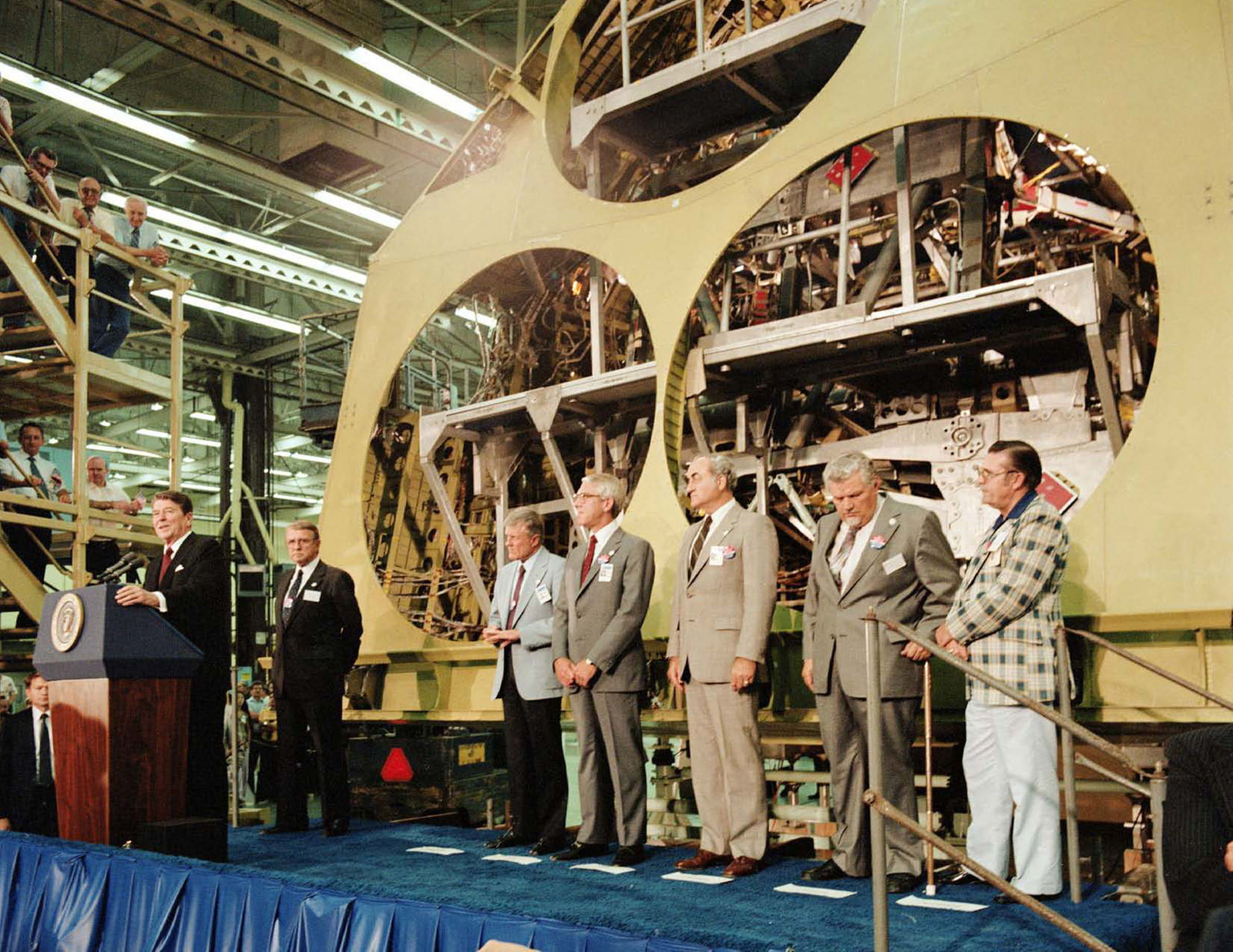 President Reagan stands in front of Atlantis' aft fuselage at Rockwell's Downey facility in this photo from May 25, 1982..jpg