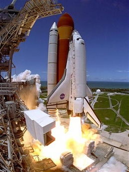 The space shuttle Discovery lifts off from the Kennedy Space Center in Cape Canaveral.jpg