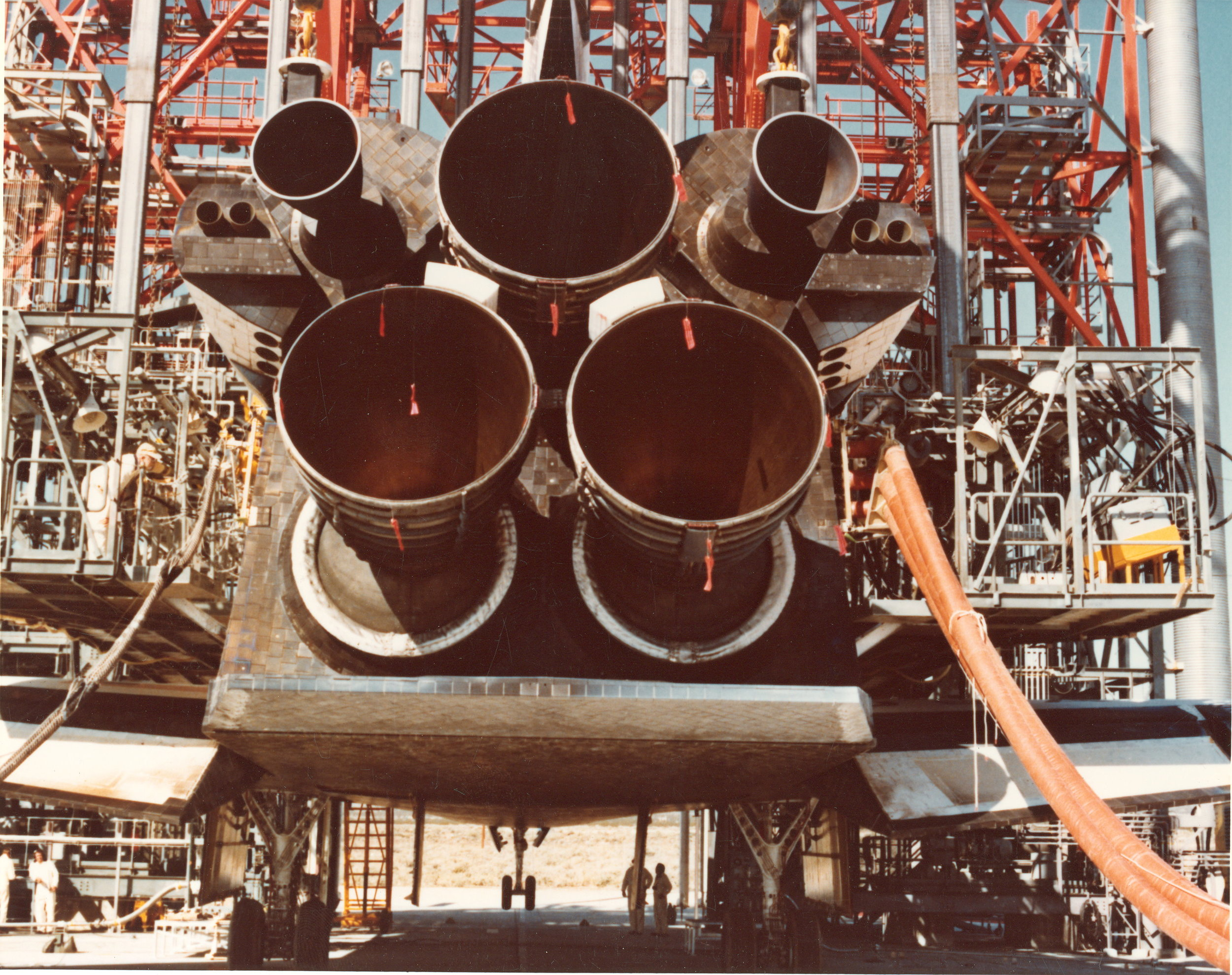 view of main shuttle engines fueling for tests.jpg