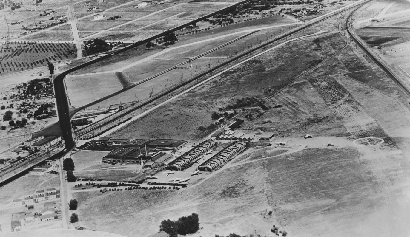 Photograph of an aerial view of Lockheed Aircraft and Airport, ca.1928.