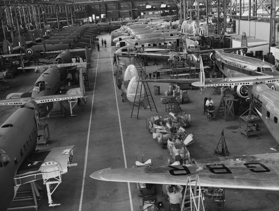 CHS-40606Photograph of an interior view of the Lockheed Corporation plant, ca.1940