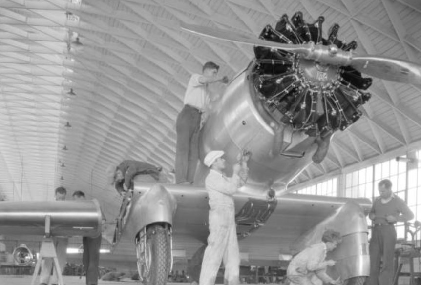 Building a new Delta Northrop plane. 1933