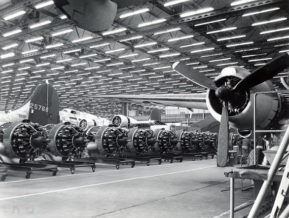 A row of engines, Lockheed Aircraft Co., Burbank, ca. 1940s.