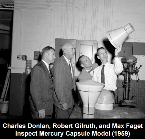 Charles Donlan, Robert Gilruth and Max Faget inspect the Mercury Capsule Model in 1959.jpg
