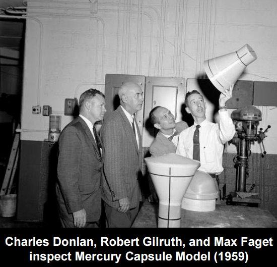 Charles Donlan, Robert Gilruth and Max Faget inspect the Mercury Capsule Model in 1959.jpg