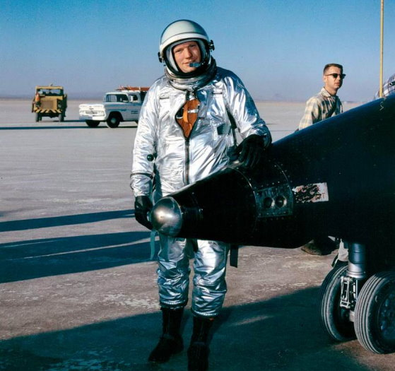 Neil Armstrong with the X-15 rocket plane