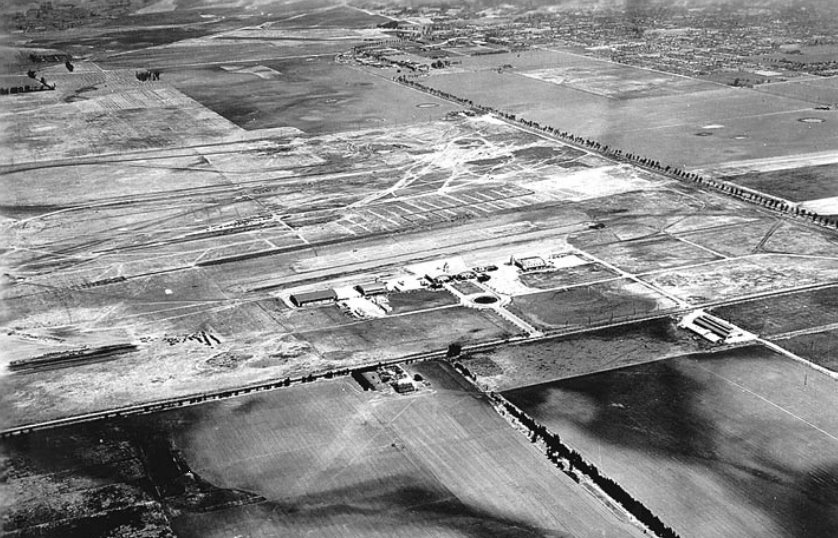 Aerial view of airport  after completion of Hangars 1 thru 5 - 1930
