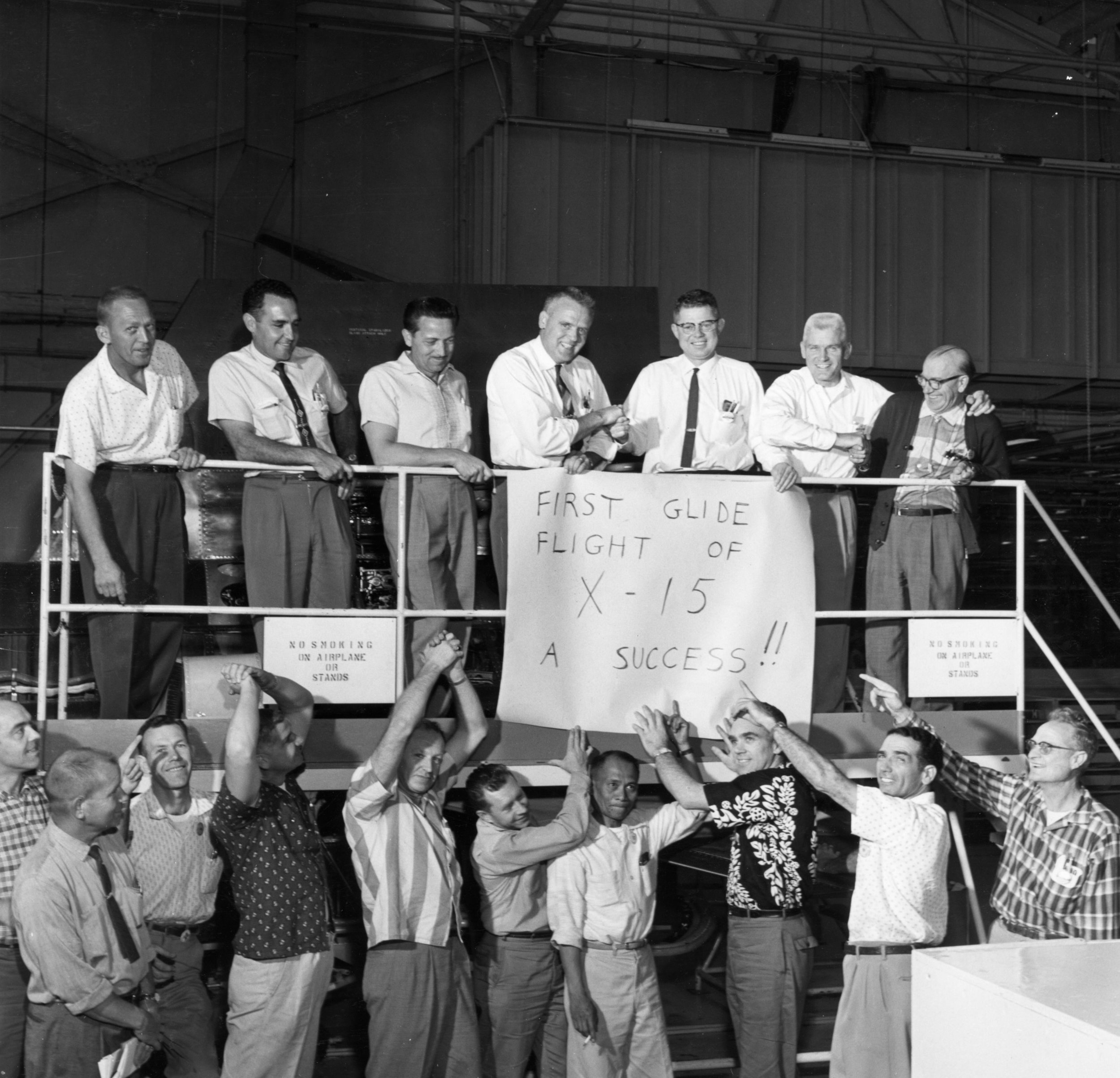 X-15 program staff celebrate the first glide flight in June 1959