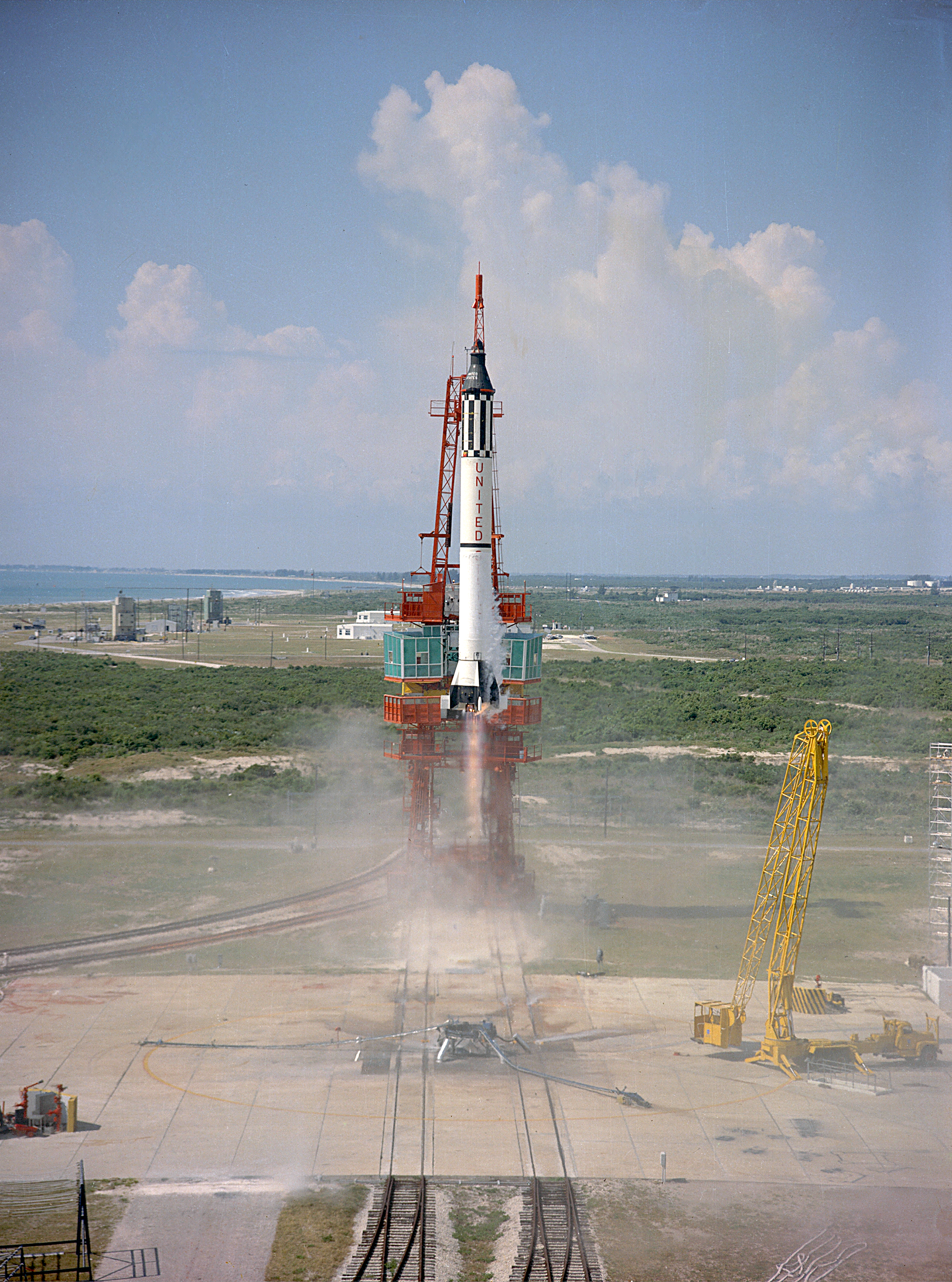 Alan Shepard's Freedom 7 capsule was launched on a Redstone rocket.
