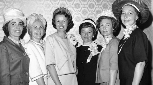attend a luncheon held in their honor by the American Newspaper Women's Club on April 27, 1962, in Washington, D.C. Mercury Seven wife Josephine Schirra is not pic
