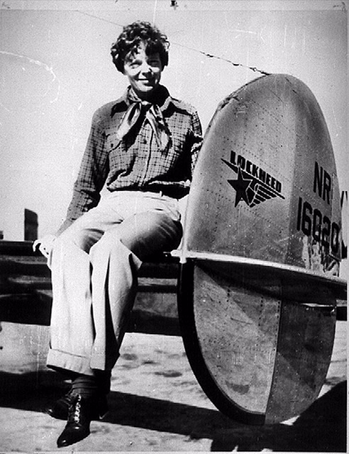 Amelia Earhart and her Lockheed 10E Electra.