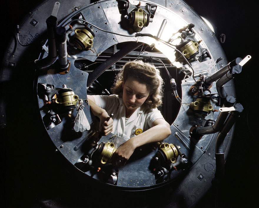 B-25 bomber cowl assembly, North American Aviation, Kansas City, Kansas. October 1942..jpg