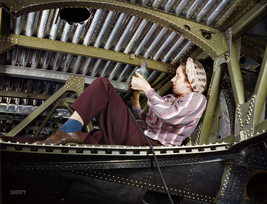 "October 1942. ""Douglas Aircraft plant at Long Beach, California. An A-20 bomber being riveted by a woman worker."" (With, yes, a power drill.).jpg"