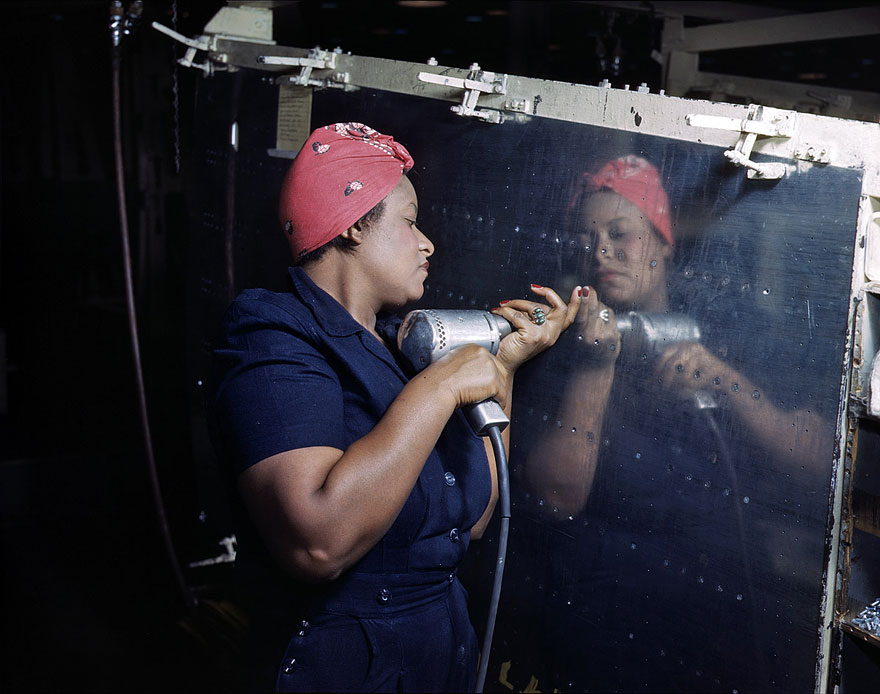 "Working on a ""Vengeance""dive-bomber at Vultee-Nashville. February 1943."